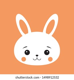 Rabbit bunny cute funny kawaii face. Cartoon vector illustration