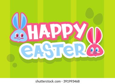 Rabbit Bunny Painted Eggs Happy Easter Holiday Banner Colorful Greeting Card Flat Vector Illustration