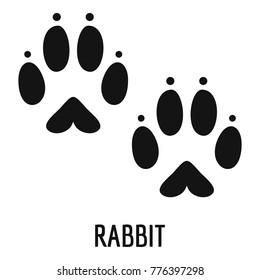 Rabbit bunny paw footprint icon. Simple illustration of rabbit bunny paw footprint vector icon for web