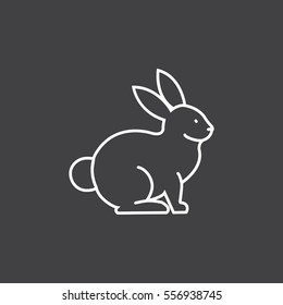 Rabbit, bunny web line icon.