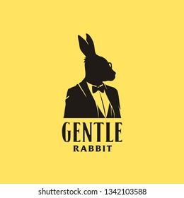 Rabbit businessman silhouette with elegant gentleman tuxedo
