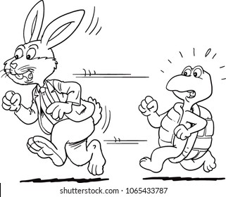 Rabbit businessman and Turtle