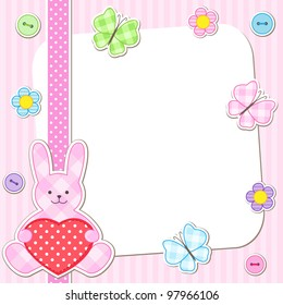 Rabbit cards in pink for girl birthday card, baby shower invitation, arrival announcement etc.