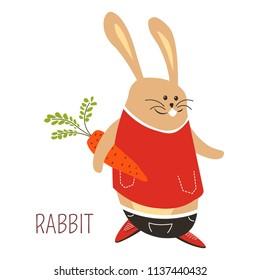 Rabbit with carrot childish cartoon book character