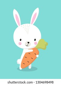 rabbit with carrot isolated on blue background, Happy Easter greeting card with bunny and carrot, cute hare and sweet vegetable