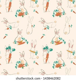 Rabbit and carrot  pattern with color