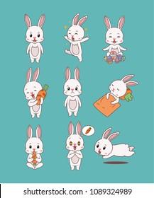 Rabbit Cartoon Emotion Set 1