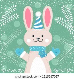 Rabbit characters. Cute winter illustration. Hand draw