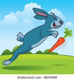 Rabbit Chasing a Carrot