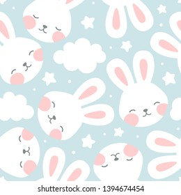 Rabbit and cloud Seamless Pattern Background, Scandinavian Happy bunny with cloud, star for baby. cartoon rabbit vector illustration for kids nordic background