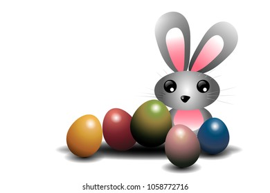 rabbit and color eggs ,easter festival concept