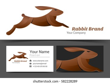 Rabbit Corporate Logo and business card sign template. Creative design with colorful logotype visual identity composition made of multicolored element. Vector illustration.