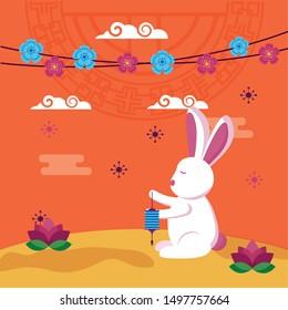 Rabbit design, Mid autumn festival china oriental celebration and traditional theme Vector illustration
