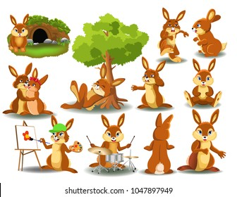 Rabbit doing different activities isolated on a white background