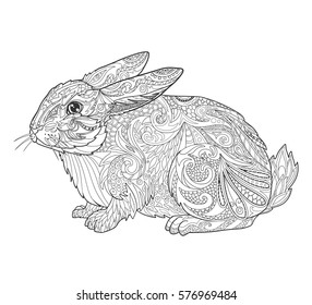 Rabbit in doodle style for coloring book page for adult. Vector illustration tribal animal isolated on white.