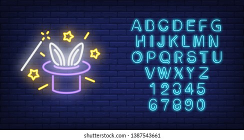 Rabbit ears emerging from magicians hat neon sign. Magic trick performing with magic wand. Night bright advertisement. Vector illustration in neon style for circus and sorcery