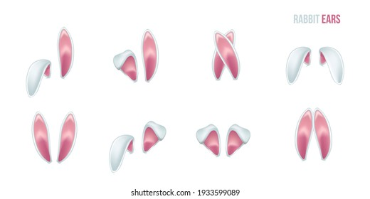 Rabbit ears realistic 3d vector illustrations set. Easter bunny ears kid headband, mask collection. Hare costume pink cartoon element. Photo editor, booth, video chat app color isolated cliparts