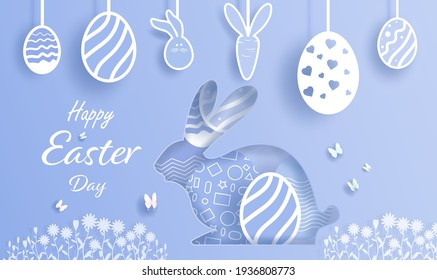 Rabbit and Egg illustration banner card design in easter day. Poster and postcard spring flowers art cartoon, Floral and butterfly and easter bunny in paper art ,paper cut, style. Vector illustration.