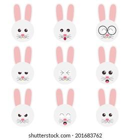 rabbit emotion faces icon set vector