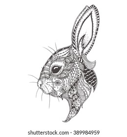 Rabbit with ethnic floral doodle pattern. Coloring page - zendala, design for spiritual relaxation for adults, vector illustration, isolated on a white background. Zen doodles.