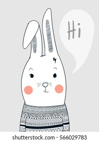 Rabbit face people dressed carpet wearing striped sweater dress beautifully. Hello bunny greeting friends