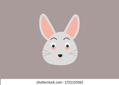 rabbit face vector design illustration, cute bunny