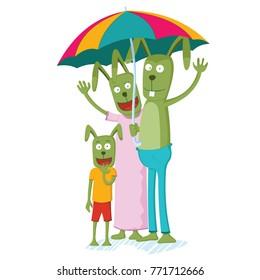 rabbit family on the rain