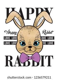 rabbit fashion design print