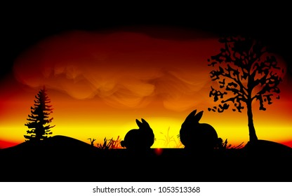 Rabbit in field silhouetted with Sunset in evening time background, Eps 10 vector