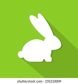 rabbit flat icon bunny silhouette flat design vector illustration