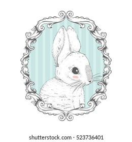 Rabbit in the frame. Hand drawing. Vector illustration EPS10