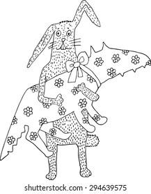 Rabbit with gift. Hand drawn illustration.