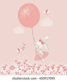 rabbit girl with balloon/hand drawn vector illustration/can be used for kid's or baby's shirt design/ fashion print design/ fashion graphic/ t-shirt/ kids wear