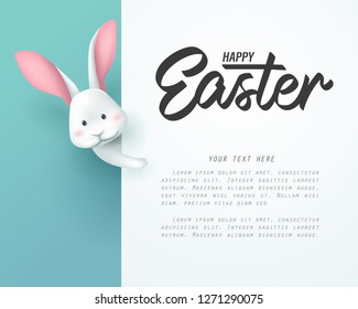 Rabbit and happy Easter board banner, vector art and illustration.