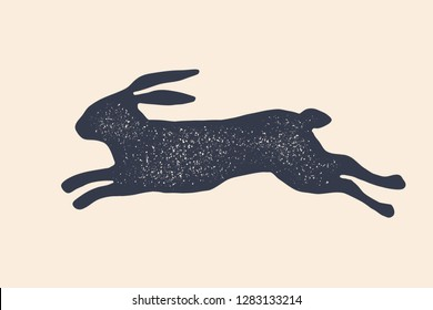 Rabbit, hare, silhouette. Vintage logo, retro print, poster for Butchery meat shop, rabbit silhouette. Logo template for meat business, meat shop. Black white silhouette rabbit. Vector Illustration