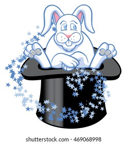 Rabbit in a hat with magical stars