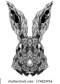 rabbit head tattoo. vector illustration