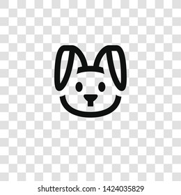 rabbit icon from miscellaneous collection for mobile concept and web apps icon. Transparent outline, thin line rabbit icon for website design and mobile, app development