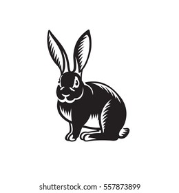 Rabbit illustration on white background. Negative space design. Vector icon template for your logo or corporate identity.