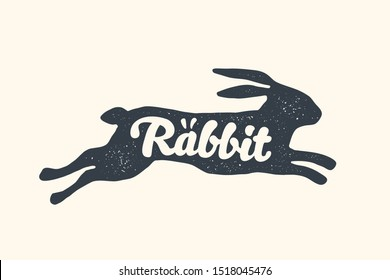 Rabbit, lettering. Design of farm animals, Hare or Rabbit side view profile. Isolated black silhouette rabbit or hare with text lettering on white background. Vector Illustration