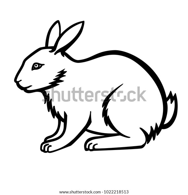 Rabbit Linear Drawing Bunny Rabbit Small Stock Vector (Royalty Free)  1022218513