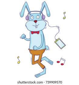 rabbit listening to the music