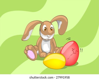 rabbit looking on the egg (editable layers)