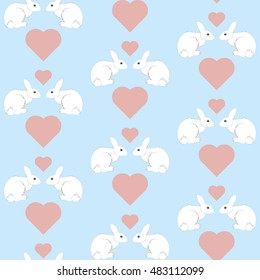 rabbit love seamless pattern