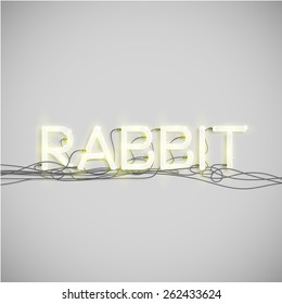 'RABBIT' made by neon font, vector