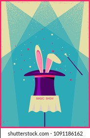 Rabbit in magical hat.Vector old poster of magic show for text