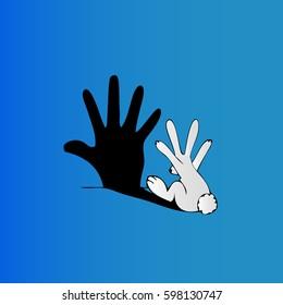Rabbit making shadow hand, vector illustration