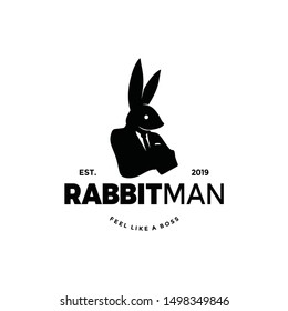 Rabbit man worker logo silhouette with bunny head of animal and human body. unique cool design. wear suit coat, tie like a boss. Cool Stand out.