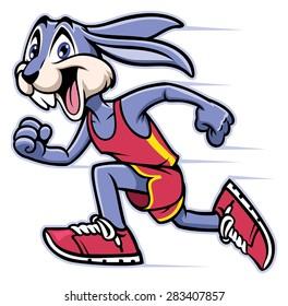 rabbit mascot running