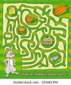 Rabbit Maze Game. Find a carrots. Vector illustration